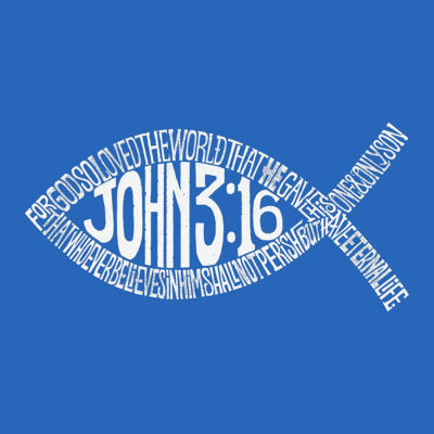 Los Angeles Pop Art Men's Premium Blend Word Art T-shirt - John 3:16 Fish Symbol