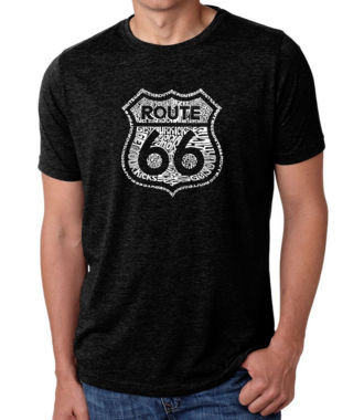 Los Angeles Pop Art Men's Premium Blend Word Art T-shirt - Get Your Kicks On Route 66