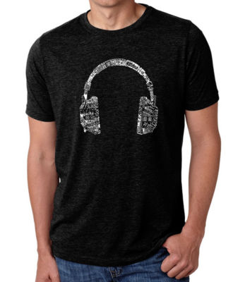 Los Angeles Pop Art Men's Premium Blend Word Art T-shirt - Headphones - Languages