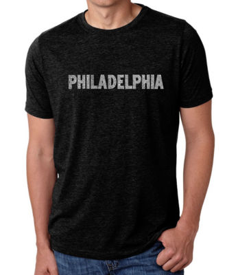 Los Angeles Pop Art Men's Premium Blend Word Art T-shirt - Philadelphia Neighborhoods