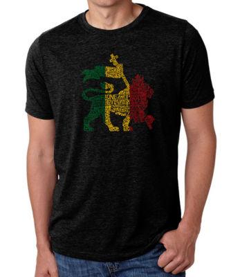 Los Angeles Pop Art Men's Premium Blend Word Art T-shirt - Rasta Lion - One Love