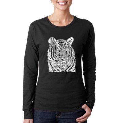 Los Angeles Pop Art Women's Word Art Long Sleeve T-Shirt - Big Cats