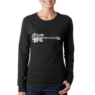 Los Angeles Pop Art Women's Word Art Long Sleeve T-Shirt - Highway to Hell
