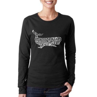 Los Angeles Pop Art Women's Word Art Long Sleeve T-Shirt - Humpback whale