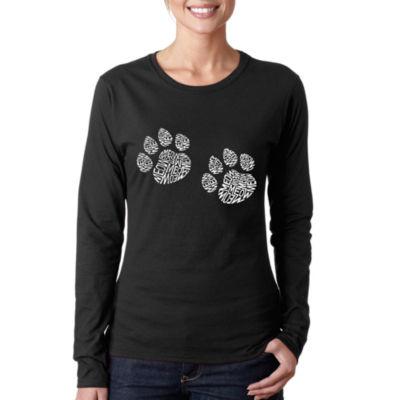 Los Angeles Pop Art Women's Word Art Long Sleeve T-Shirt - Meow Cat Prints