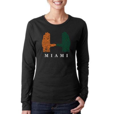 Los Angeles Pop Art Women's Word Art Long Sleeve T-Shirt - Miami Hurricanes Hand Symbol