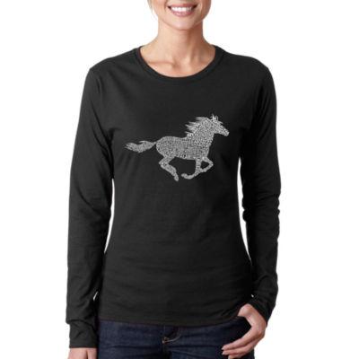 Los Angeles Pop Art Women's Word Art Long Sleeve T-Shirt - Horse Breeds