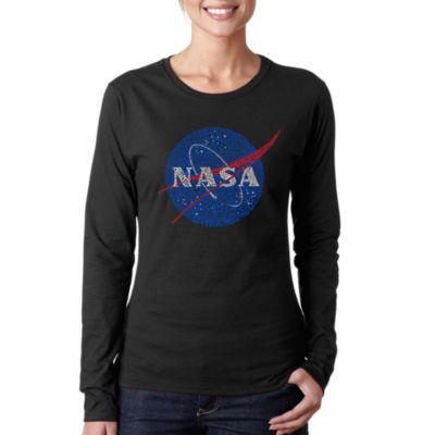 Los Angeles Pop Art Women's Word Art Long Sleeve T-Shirt - NASA's Most Notable Missions