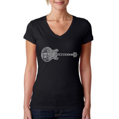Los Angeles Pop Art Women's Word Art V-Neck T-Shirt - Blues Legends