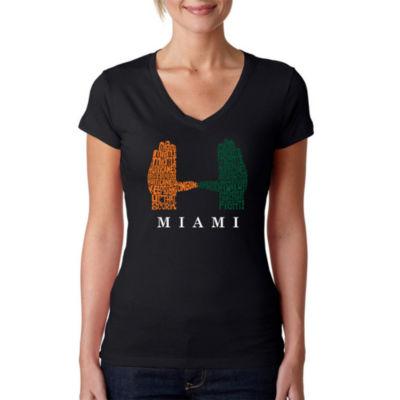Los Angeles Pop Art Women's Word Art V-Neck T-Shirt - Miami Hurricanes Hand Symbol