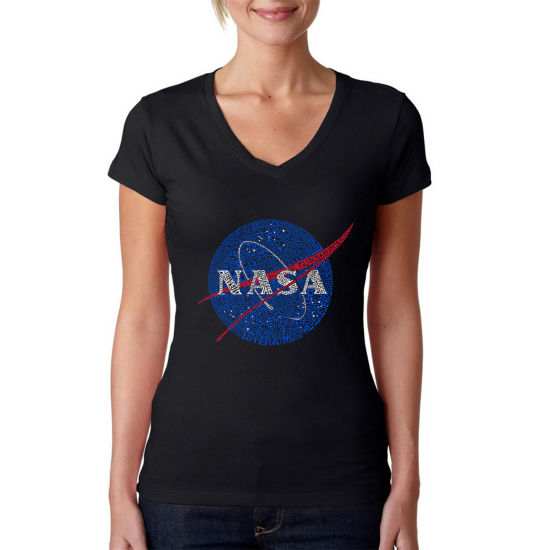 Los Angeles Pop Art Women's Word Art V-Neck T-Shirt - NASA's Most Notable Missions