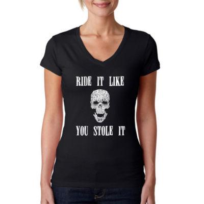 Los Angeles Pop Art Women's Word Art V-Neck T-Shirt - Ride It Like You Stole It