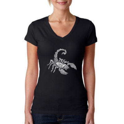 Los Angeles Pop Art Women's Word Art V-Neck T-Shirt - Types of Scorpions
