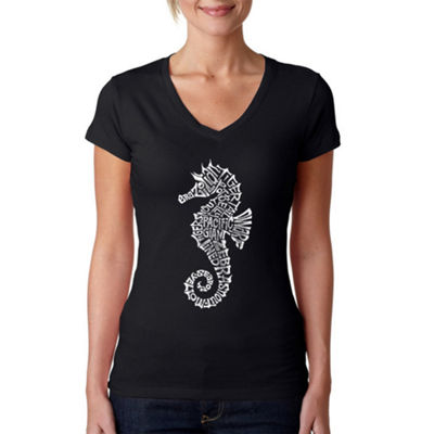 Los Angeles Pop Art Women's Word Art V-Neck T-Shirt - Types of Seahorse