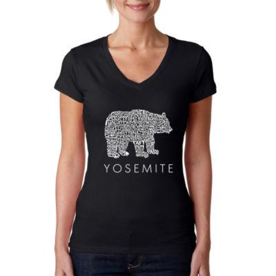 Los Angeles Pop Art Women's Word Art V-Neck T-Shirt - Yosemite Bear