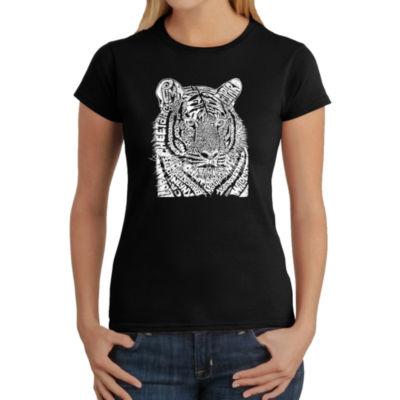 Los Angeles Pop Art Women's Word Art T-Shirt - Big Cats