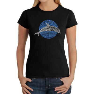 Los Angeles Pop Art Women's Word Art T-Shirt - Species of Dolphin