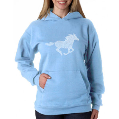Los Angeles Pop Art Women's Word Art Hooded Sweatshirt -Horse Breeds