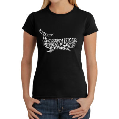 Los Angeles Pop Art Women's Word Art T-Shirt - Humpback whale