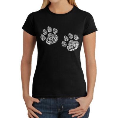 Los Angeles Pop Art Women's Word Art T-Shirt - Meow Cat Prints