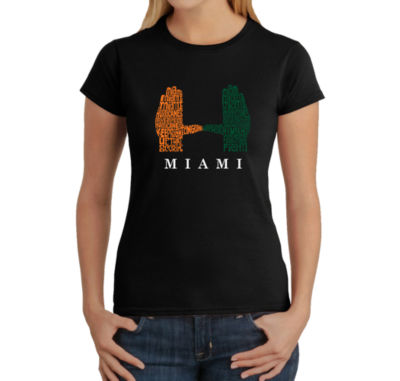 Los Angeles Pop Art Women's Word Art T-Shirt - Miami Hurricanes Hand Symbol
