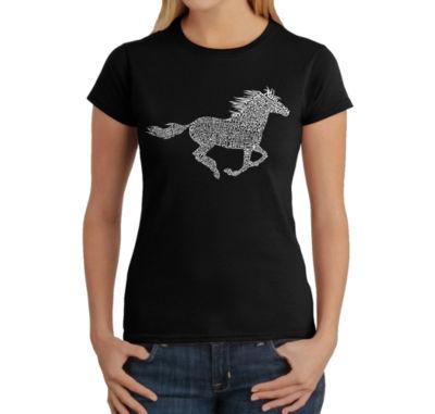 Los Angeles Pop Art Women's Word Art T-Shirt - Horse Breeds