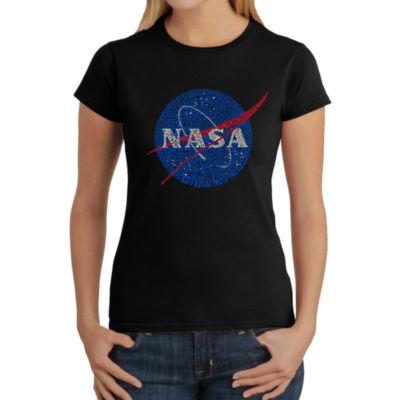 Los Angeles Pop Art Women's Word Art T-Shirt - NASA's Most Notable Missions