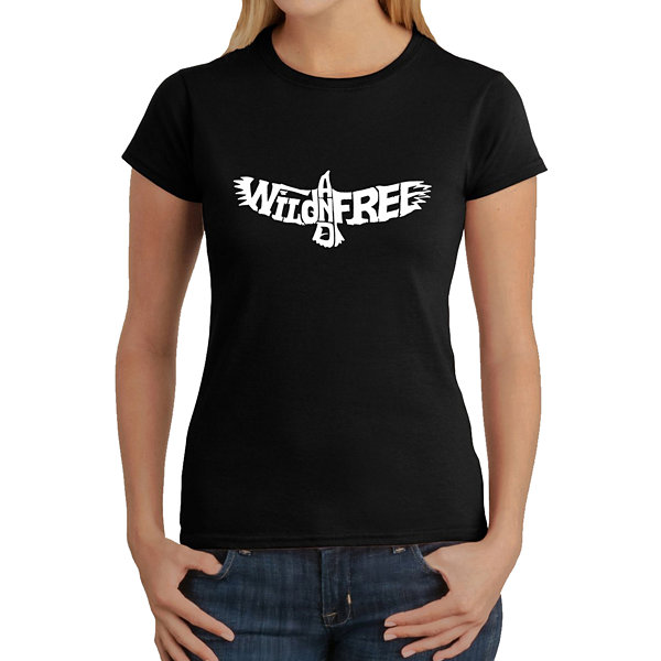 Los Angeles Pop Art Women's Word Art T-Shirt - Wild and Free Eagle
