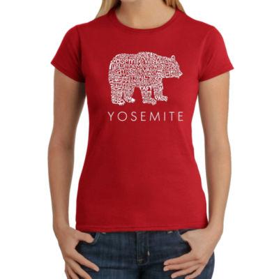 Los Angeles Pop Art Women's Word Art T-Shirt - Yosemite Bear