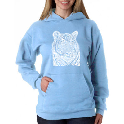 Los Angeles Pop Art Women's Plus Word Art Hooded Sweatshirt -Big Cats