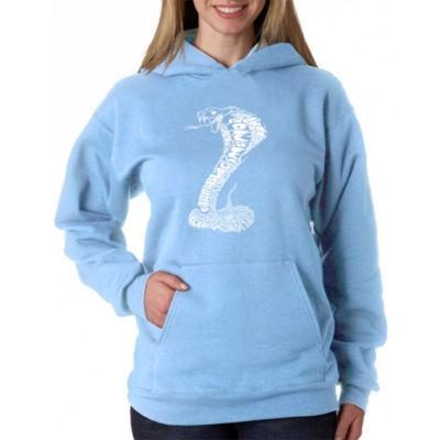Los Angeles Pop Art Women's Plus Word Art Hooded Sweatshirt -Types of Snakes