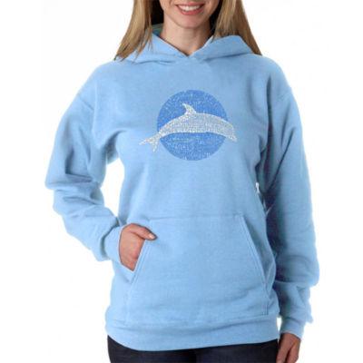 Los Angeles Pop Art Women's Plus Word Art Hooded Sweatshirt -Species of Dolphin