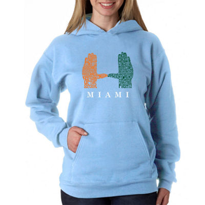 Los Angeles Pop Art Women's Plus Word Art Hooded Sweatshirt -Miami Hurricanes Hand Symbol