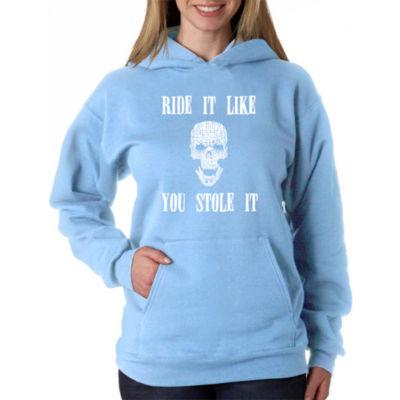 Los Angeles Pop Art Women's Plus Word Art Hooded Sweatshirt -Ride It Like You Stole It