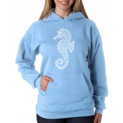 Los Angeles Pop Art Women's Plus Word Art Hooded Sweatshirt -Types of Seahorse