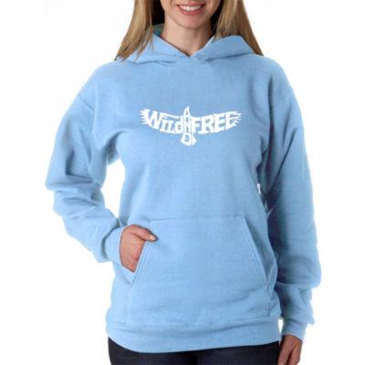Los Angeles Pop Art Women's Plus Word Art Hooded Sweatshirt -Wild and Free Eagle