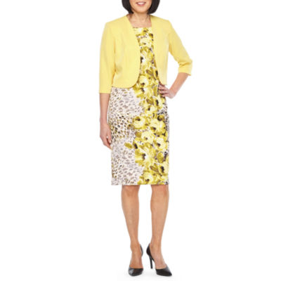Maya Brooke 3/4 Sleeve Jacket Mid Length Dress