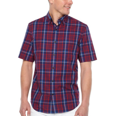 Big Mac Mens Short Sleeve Moisture Wicking Plaid Button-Front Shirt Big and Tall