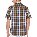 Big Mac Mens Short Sleeve Moisture Wicking Plaid Button-Down Shirt