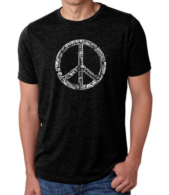 Los Angeles Pop Art Men's Big & Tall Premium Blend Word Art T-Shirt - The Word Peace In 77 Languages