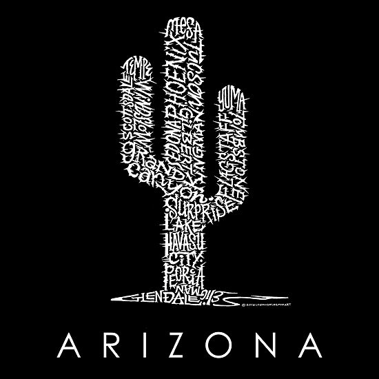 Los Angeles Pop Art Men's Big & Tall Premium Blend Word Art T-Shirt - Arizona Cities