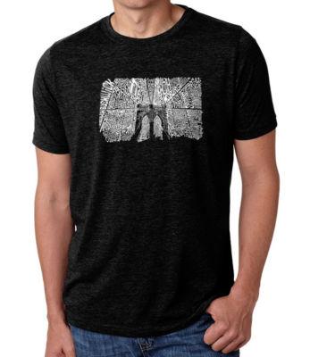 Los Angeles Pop Art Men's Big & Tall Premium Blend Word Art T-Shirt - Brooklyn Bridge