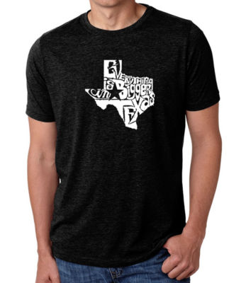 Los Angeles Pop Art Men's Big & Tall Premium Blend Word Art T-Shirt - Everything Is Bigger In Texas