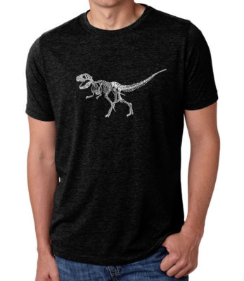 Los Angeles Pop Art Men's Big & Tall Premium Blend Word Art T-Shirt - Dinosaur T-Rex Skeleton