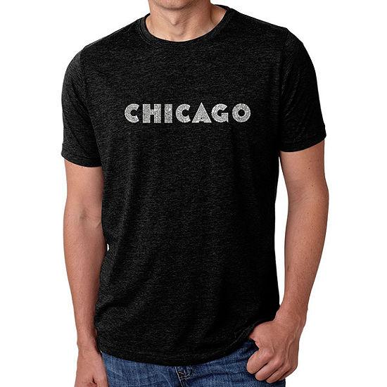Los Angeles Pop Art Men's Big & Tall Premium Blend Word Art T-Shirt - Chicago Neighborhoods