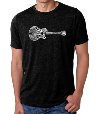 Los Angeles Pop Art Men's Big & Tall Premium Blend Word Art T-Shirt - Country Guitar