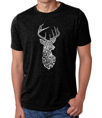 Los Angeles Pop Art Men's Big & Tall Premium Blend Word Art T-Shirt - Types of Deer