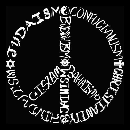 Los Angeles Pop Art Men's Big & Tall Premium Blend Word Art T-Shirt - Different Faiths Peace Sign