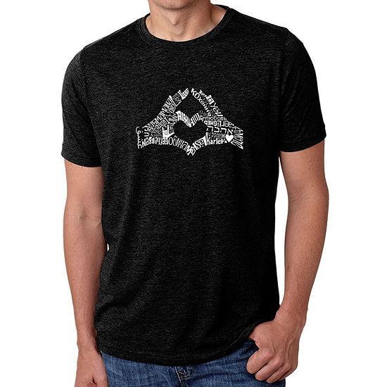Los Angeles Pop Art Men's Big & Tall Premium Blend Word Art T-Shirt - Finger Heart