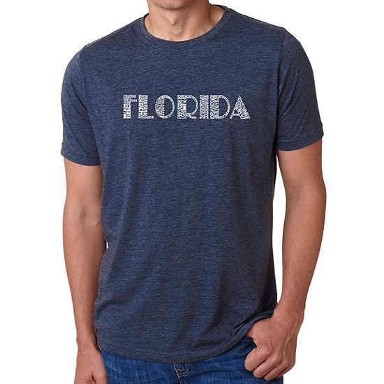 Los Angeles Pop Art Men's Big & Tall Premium Blend Word Art T-Shirt - Popular Cities In Florida